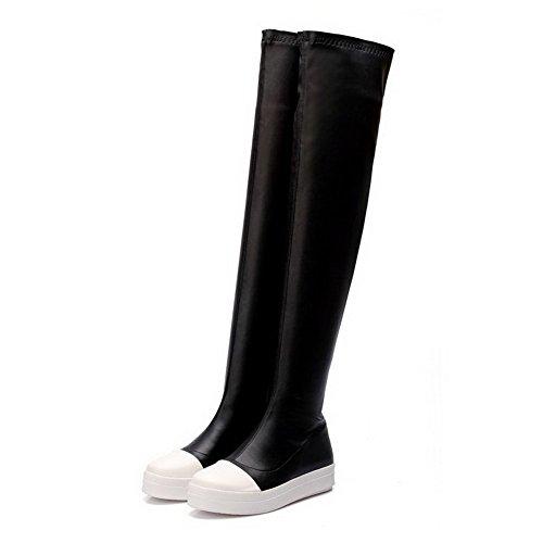 VogueZone009 Damen Überknie Hohe Stiefel Weiches Material Niedriger Absatz Rund Zehe Stiefel Schwarz
