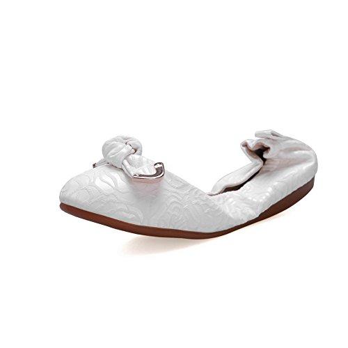 AllhqFashion Femme Couleur Unie Matière Mélangee Non Talon Rond Tire Chaussures à Plat Blanc