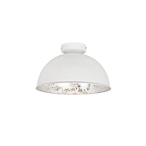 QAZQA Landhaus/Vintage/Rustikal Deckenleuchte/Deckenlampe/Lampe/Leuchte Magna matt weiß mit silberner Innenseite/Innenbeleuchtung/Wohnzimmerlampe/Schlafzimmer/Küche Stahl Rund LED ge