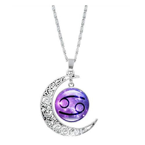 MeiPing Hollow Crescent Constellation Halskette Anhänger Zeit Edelstein Luminous Glow Long Sweater Chain Halskette