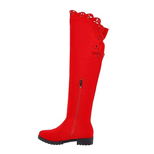 ENMAYER donne metallo decorativi attorno la cerniera nabuk della bassa tacco in ginocchio gli stivali Rosso#74