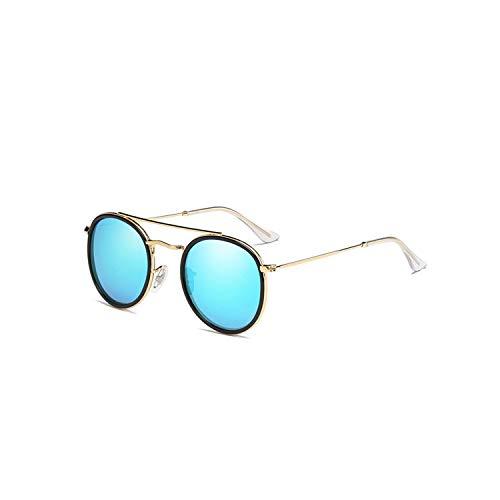 Sportbrillen, Angeln Golfbrille,Brand Designer Polarisiert Sunglasses Women Men Sunglasses Metal Round Frame Mirror Lens Goggles Oculos De Sol UV400 AI32 P2Blue