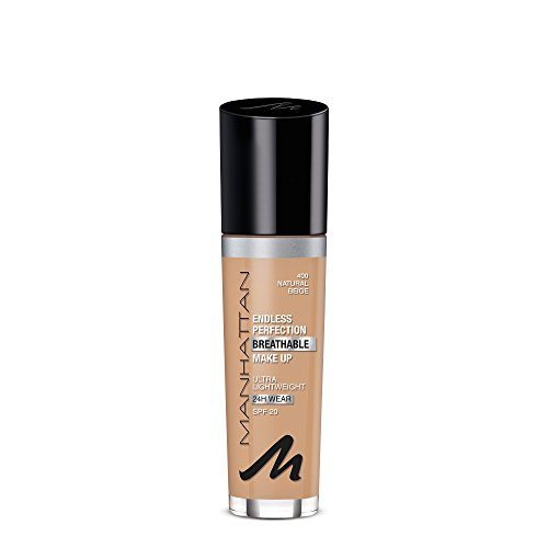 Manhattan Endless Perfection Breathable Foundation, Farbe 400, Natural Beige, flüssiges Make-Up (Beige Natural Foundation)