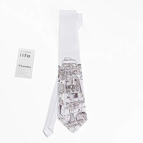 CEKINF Neue Männliche Männer Persönlichkeit Einzigartige Mode Druck Kreative Bankett Party Beiläufige Gedruckte Krawatte Zeitungsmaschinerie2 Zwei Krawatten