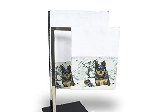 Set de serviettes et serviettes de bain en impression numérique ligne Natural Life Loup Telo Bagno Loup