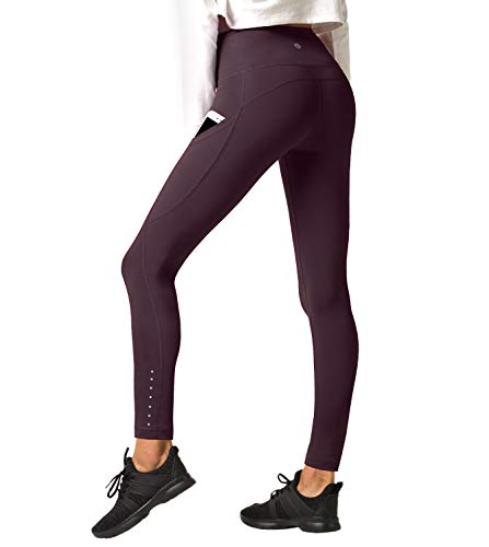 LAPASA Damen Capri Leggings 3/4 Sport Yoga Pants, 1 bis 2er Pack, High Wasit, MEHRWEG L002 (Dunkel Weinrot(Super Opak mit Seitentaschen), L (letzter Abbildung zufolge)) -
