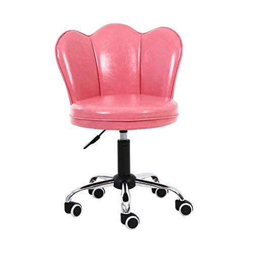 LSRRYD Bürostuhl Drehstuhl Mit Rollen Schreibtischstuhl Höhenverstellbar Kunstleder Esszimmerstuhl/Rückseite Loungesessel (Farbe : Rosa)