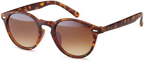 Runde Vintage Sonnenbrille im angesagten Unisex Rund für Herren & Damen - Retro Brille (Leo)