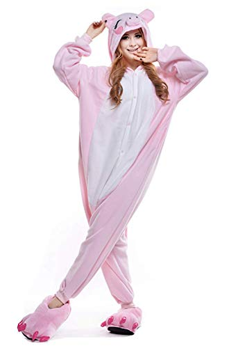 Pyjamas Kostüm PyjamaTier Kostüme Halloween Jumpsuit Erwachsene Schlafanzug Unisex Cosplay (Kostüme Schwein Adult)