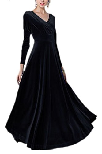 Frauen Elegant Samt Lange Ärmel Mit Maxi - Kleid Und Größe Black M (Samt Schwarzer Kleid Langen)