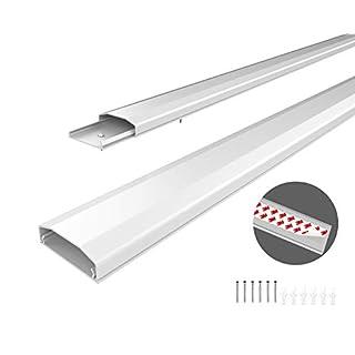 conecto Kabelkanal mit 3M Klebeband selbstklebend selbsthaftend zum Kleben oder Schrauben aus hochwertigem PVC (Länge 100cm, Breite 6cm, Höhe 2cm) weiß