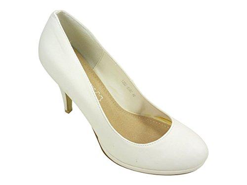 Chaussures femmes, escarpins à plateau et bout rond Blanc