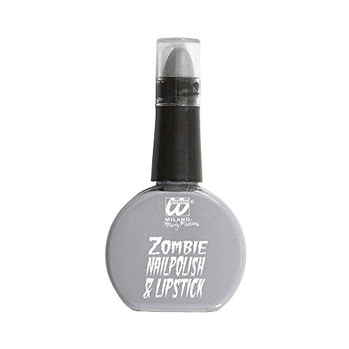 Widmann 01152 - Nagellack und Lippenstift Set für Zombie, grau