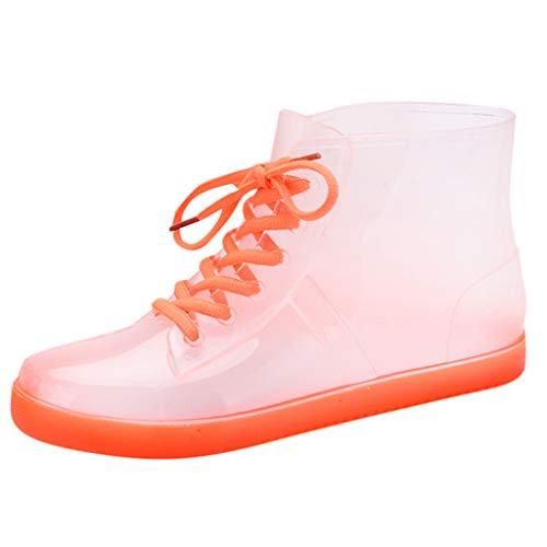 Fannyfuny Damen Mode rutschfest Regenstiefel Aquaschuhe Wasserschuhe Outdoor Casual Rain Schuhe Schwimmschuhe Surfschuhe Wasserdicht Schnell Trocknend Rain Boots Schwarz,Pink,Orange,Blau 35-39