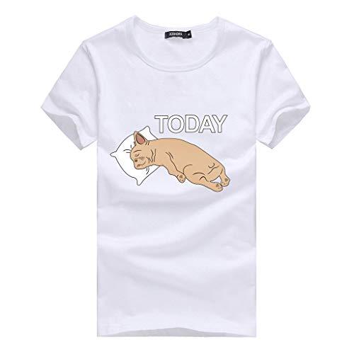 Linkay T Shirt Damen Kurzarm Bluse Oansatz Tops Herz Print Tops Mode 2019 (Weiß-F, X-Large)
