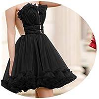 skirt Vestidos de Noche Europeos Y Americanos, Vestidos Cortos de Novia con Cuello en V Y Brindis, Falda de Banquete Vestido de Dama de Honor,Negro,S