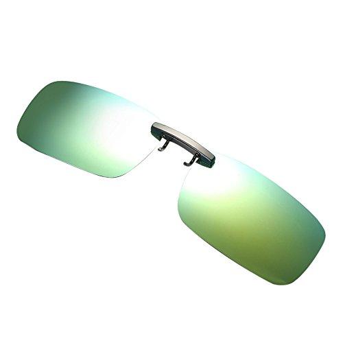 VRTUR Sonnenbrille Aufsatz, 2-Stück Clip on Polarisiert Clip polarisierte Sonnenbrille Flip up Sonnenbrille Clip Gegen Licht für Frauen und Männer Unisex Brillenträger(One size,Gold)