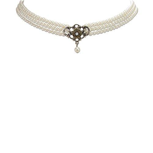 Trachtenschmuck * Trachtenkette Perlen 3-reihig mit Metallelement Bicolor * Damen Dirndlkette * Perlenkette Oktoberfest Dirndl-Schmuck (Creme-weiß)