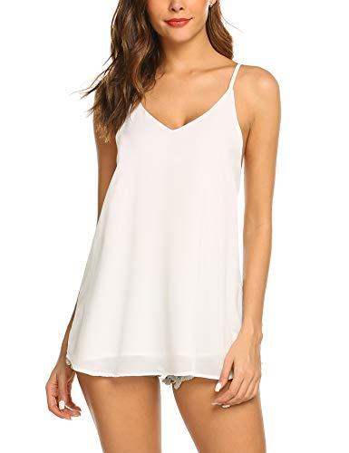 Beyove Damen Ärmellose Bluse Chiffon V-Ausschnitt Elegant Weste Top Hemdbluse Doppelschicht Sommer Loose fit T Shirt (XXL, Weiß)