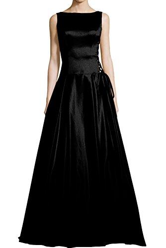 Ivydressing hoch qualitativ Abendkleid Ballkleid Rundkragen Rueckenfrei Bodenlang aermellos A-Linie Satin Festkleid Partykleid Schwarz