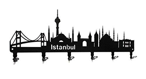 steelprint.de Wandgarderobe - Skyline Istanbul - Flurgarderobe 58 cm - Türkei - Kleiderhaken, Hakenleiste, Garderobeneiste, Garderobenhalter, Garderobe - Metall, Schwarz