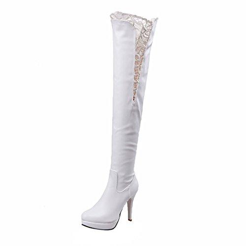 Stiletto Fell Stiefel (UH Damen Overknee Stiefel Plateau Stiletto High Heels Boots mit Spitze und Fell Reißverschluss Herbst Winter Schuhe)