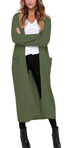Aleumdr Strickmantel Strickjacke Damen Gestrickt Lose Cardigan Wintermantel Causal Cardigan Parkajacke Outwear mit Taschen und Langarm, Dunkelgrün, Small(EU34-36)