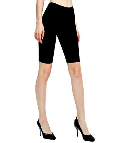 Liang Rou Women's Mini-Ribbed Ultra-Thin Stretch Short Leggings