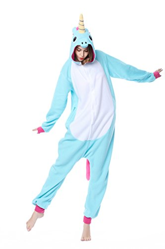 Einhorn Tier Schlafanzug Unisex Pyjama Halloween Karneval Erwachsene Cosplay Kostm Onesie, Blau, M - Gre passt fr Hhe 158cm-168cm (Waschmaschine Und Trockner Kostüme)