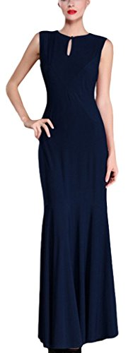 La vogue Damen Kleid Abendkleid Partykleid Business Slim Fit Maxi Cocktail Blau