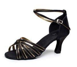 DIKE High Quality Women's Girl's Ladies Latin/Ballroom Dance Shoes Practice Shoes Sandals Satin Med Heel Black Gold 7cm heel
