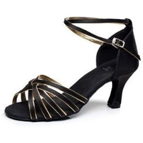 DIKE High Quality Women's Girl's Ladies Latin/Ballroom Dance Shoes Practice Shoes Sandals Satin Med Heel Black Gold 7cm heel 36 2/3EU