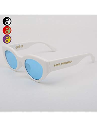 MOMOQU Sun Glasses Dreieckige Katzenauge-Sonnenbrille Weibliche Gezeiten-Sonnenbrille Männliches Rundes Gesicht, C
