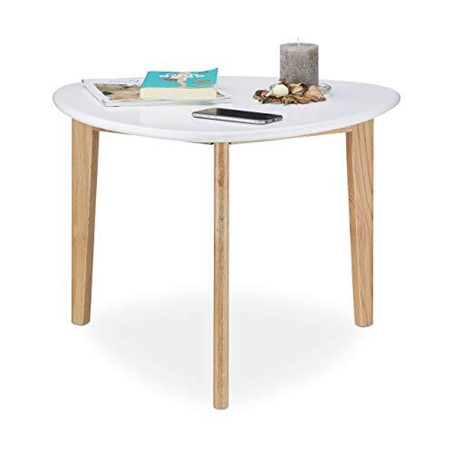 Relaxdays Table basse table de salon blanche bois pieds en chêne bout de canapé table d'appoint design retro moderne 50, blanc nature