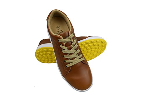 Zerimar Chaussures de Golf pour Hommes   Chaussures de Sport pour Hommes   Chaussures de Sport pour Hommes   Chaussure de Golf en Cuir  Chaussure de Sport   Couleur Tan Taille 45