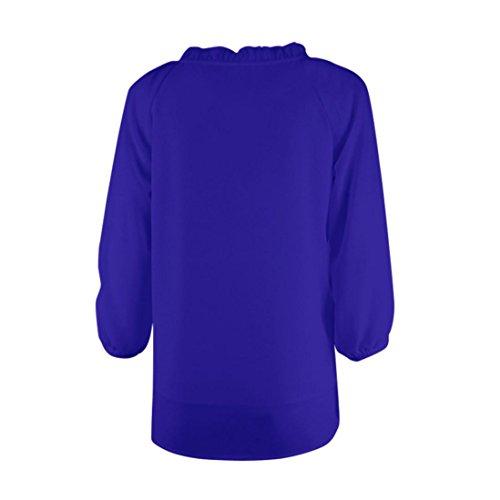 Bonjouree Chemisiers Chic Femme en Mousseline de Soie Top Blouse Manche Longue Col Rond à Volants Bleu