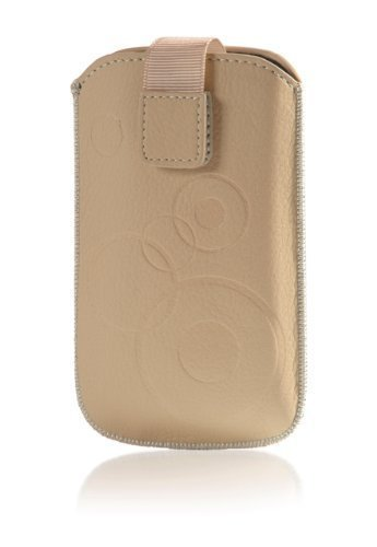 Handytasche Circle passend für Cubot X9 Handy Etui Schutz Hülle Cover Slim Case beige-braun mit Klettverschluss