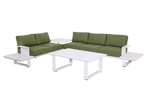Gartenlounge aus Aluminium in Weiß, Loungegarnitur mit Sitzecke inkl. grünen 10 Kissen, 3 teiliges Loungeset ist der Eyecatcher für jeden Außenbereich
