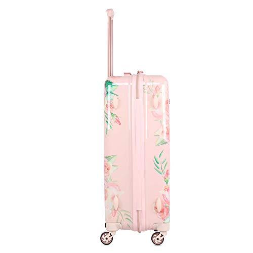 Aerolite Leichtgewicht Polykarbonat Hartschale 4 Rollen Gepäckset Reisegepäck Trolley Koffer, 3 teiliges Set, 55cm Handgepäck + 69cm + 79cm, Rosa Blumendesign - 6