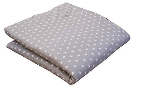 IDEENREICH Baby Krabbeldecke King Size| Sterne grau | 150x180cm | ideal als Spieldecke, Krabbeldecke und Laufgittereinlage