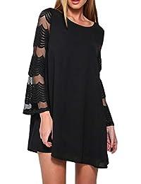 Kleid Damen ReaLIKE Elegant Rundhals Hohl Trompetenärmel Kleid Vintage  Einfarbig Langarm Kleid Mode Slim Minikleid Casual 642f9932bc