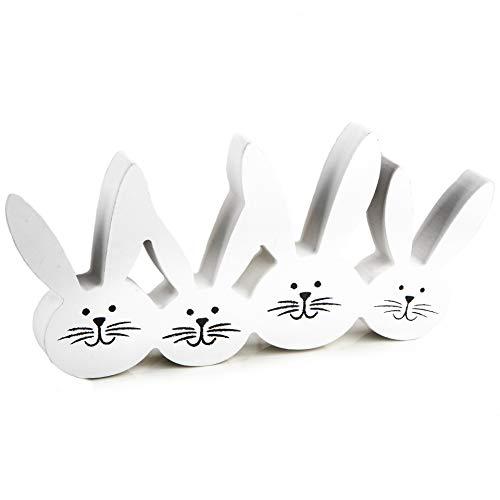 Logbuch-Verlag Osterhase Deko Figur aus Holz 22 x 11 cm Weiss schwarz Osterdeko zum Hinstellen - 4 Hasen Hasenohren witzig Osterschmuck Ostern