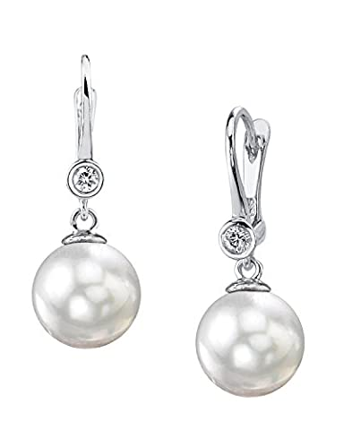 8.0-8.5mm White Akoya Cultured Pearl & Diamond Michelle Earrings in 14K Gold
