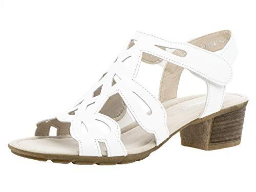 Gabor Damen Sandaletten 24.561.21, Frauen Sandaletten,Sommerschuhe,offene Absatzschuhe,hoher Absatz,Weiss,39 EU / 6 UK