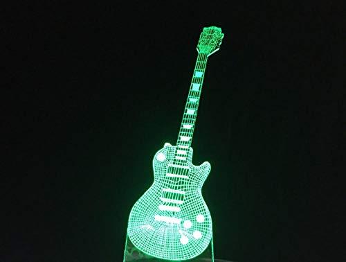 Zcmzcm 3D Nachtlichter E-Gitarre Led Lampe 7 Bunte Usb Tischlampe Baby Schlafen Musik Touch Control Kinder Geschenke Weißes Chassis