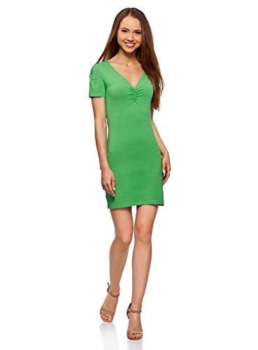 oodji Ultra Damen Enges Kleid mit V-Ausschnitt, Grün, DE 34 / EU 36 / XS Grüne Mini-kleid