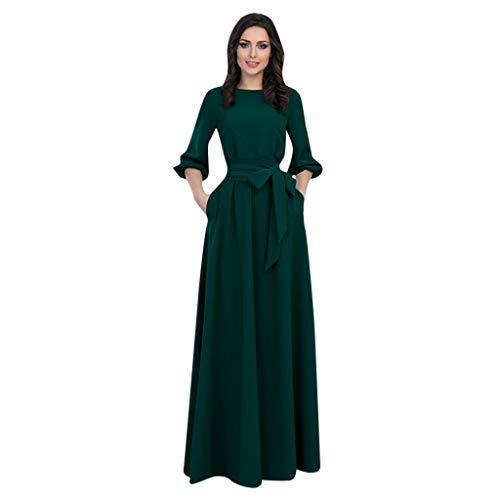5babdca78c Robe Longue Femme Été, Marlene 1988 Robe Manches Courtes Col Rond Solide Boho  Robe de