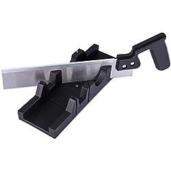 Navaris Ingletadora manual para corte en ángulo - Caja de ingletes con sierra de costilla - Serrucho para cortar madera rodapié parquet y más