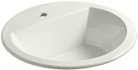 KOHLER K-2714-1-NY Bryant Round Self-Rimming Bathroom Sink with Single-Hole Faucet Drilling, Dune