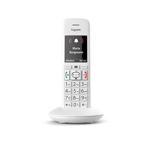 Gigaset E370HX Telefon – Schnurloses Telefon / Mobilteil - mit TFT-Farbdisplay (6-zeilig)- für DECT / CATiq Router - Freisprechfunktion - mit SOS-Taste - Weiß